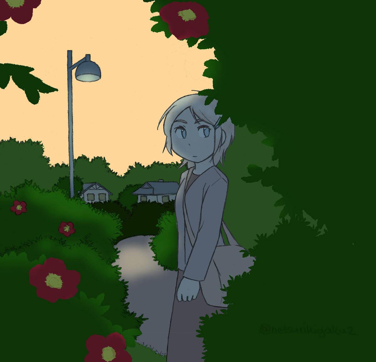歌乃と夕日と花